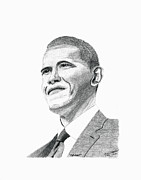 United States Government Drawings Prints - President Obama Print by Bob Garrison