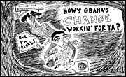 Ironic Drawings Originals - President Obama Economies of FAIL by Yasha Harari