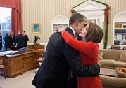 Powerful Women Framed Prints - President Obama Embraces House Speaker Framed Print by Everett