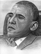 Obama Drawings Framed Prints - President Obama Framed Print by Gil Fong