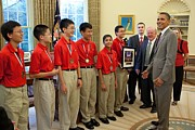 African-americans Framed Prints - President Obama Greets Mathcounts Framed Print by Everett