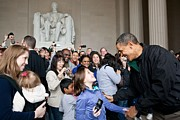 Bswh052011 Prints - President Obama Greets Tourists Print by Everett