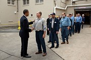 Barack Obama Photo Posters - President Obama Greets Workers At Shift Poster by Everett