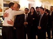 Advisors Prints - President Obama Hugs Phil Schiliro Print by Everett
