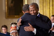 Actors Prints - President Obama Hugs Sidney Poitier Print by Everett