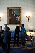 First Love Photo Prints - President Obama Kisses First Lady Print by Everett