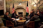 President Obama Meets With Afghan Print by Everett