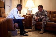 Barack Framed Prints - President Obama Meets With Army Gen Framed Print by Everett