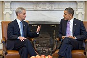 Body Language Posters - President Obama Meets With Chicago Poster by Everett