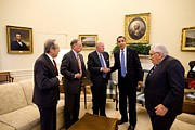 Group Portraits Framed Prints - President Obama Meets With Former Framed Print by Everett