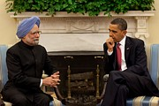 Obama Administration Framed Prints - President Obama Meets With Indian Prime Framed Print by Everett
