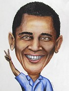 Caricature Drawings - President Obama on Vacation by Eric McGreevy