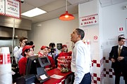 Customers Posters - President Obama Orders Lunch At Five Poster by Everett