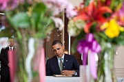 Bswh052011 Prints - President Obama Signs A Condolence Book Print by Everett