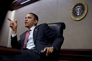 Hand Gestures Posters - President Obama Speaks During A Meeting Poster by Everett