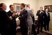 Obama Administration Prints - President Obama Talks With Admiral Print by Everett