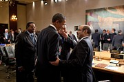 African Americans Framed Prints - President Obama Talks With Ethiopian Framed Print by Everett