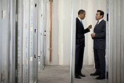 Actors Prints - President Obama Talks With Gov Print by Everett