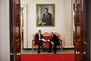 Reagan Framed Prints - President Obama Talks With His New Framed Print by Everett