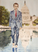 Barack Obama Painting Prints - President Obama walking on water Print by Andrew Bowers
