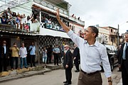 Bswh052011 Prints - President Obama Waves To People Print by Everett