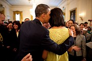 Dresses Photo Prints - President Obama Whispers Into Michelles Print by Everett
