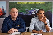 Oil Spills Photos - President Obama With Coast Guard by Everett