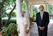 Arabs Photos - President Obama With Sheikh Sabah by Everett