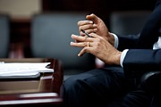 Gestures Photo Prints - President Obamas Hands Gesture Print by Everett
