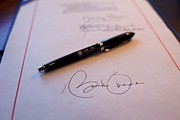 Legislation Framed Prints - President Obamas Signature On A Bill Framed Print by Everett
