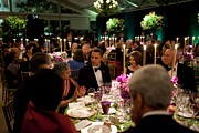 State Dinner Prints - President Obamas Table At The State Print by Everett