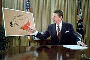 Oval Office Prints - President Reagan Addresses The Nation Print by Everett