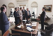 West Wing Prints - President Reagan And His White House Print by Everett