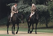 Equestrians Framed Prints - President Reagan And Queen Elizabeth Ii Framed Print by Everett