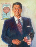 Presidents Painting Prints - President Reagan Balloon Stamp Print by David Lloyd Glover