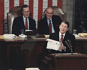 Speeches Prints - President Reagan Delivering His Last Print by Everett