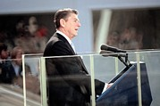 Inaugurations Framed Prints - President Reagan Delivers His First Framed Print by Everett