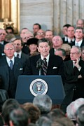 Inaugurations Framed Prints - President Reagan Delivers His Second Framed Print by Everett