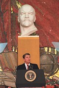 Conservatives Prints - President Reagan Giving A Speech Print by Everett