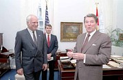 President Reagan In Robert Mcfarlanes Print by Everett