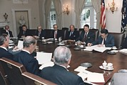 Group Portraits Framed Prints - President Reagan Leading A Cabinet Framed Print by Everett