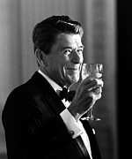 President Reagan Framed Prints - President Reagan Making A Toast Framed Print by War Is Hell Store