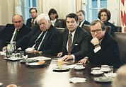 Cabinet Room Prints - President Reagan Meeting With Congress Print by Everett