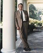 D.c. Photo Acrylic Prints - President Reagan On The White House Acrylic Print by Everett