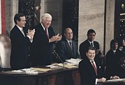 Candid Group Portraits Posters - President Reagan Receives A Standing Poster by Everett