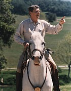 Gestures Photo Prints - President Reagan Riding His Horse El Print by Everett