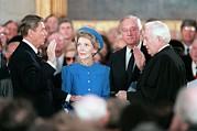 President Reagan Taking The Oath Print by Everett