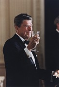 Ceremonies Framed Prints - President Reagan Toasting At A State Framed Print by Everett
