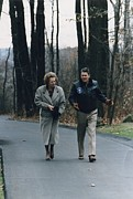 Candid Portraits Photo Prints - President Reagan Walking Print by Everett