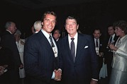 Actors Prints - President Reagan With Actor Arnold Print by Everett